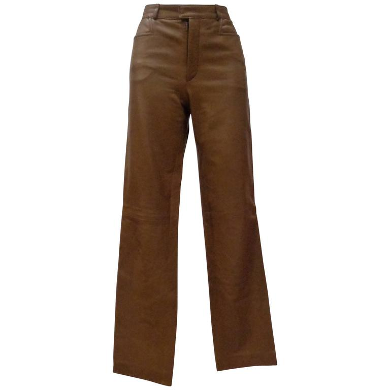 Gucci by Tom Ford Brown Leather Trousers