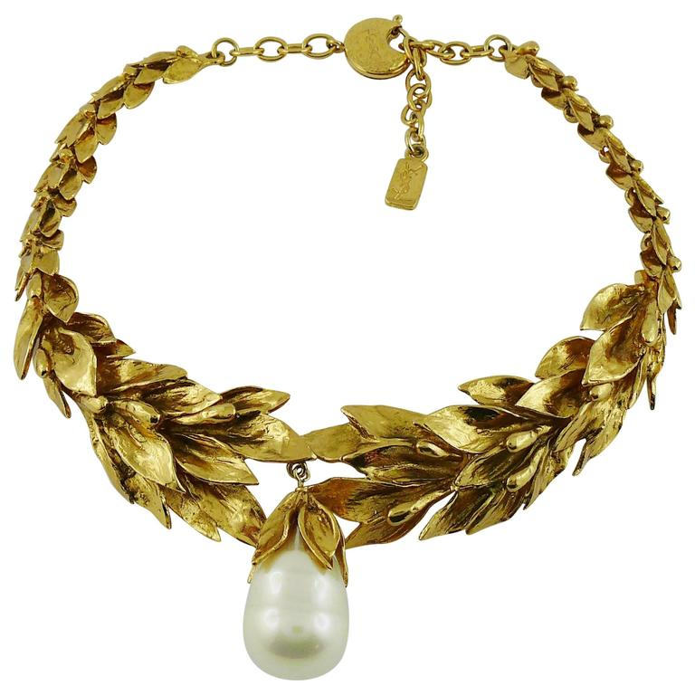 Yves Saint Laurent YSL Vintage Gold Toned Necklace 1