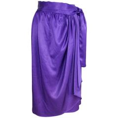 1970s Lanvin Paris Purple Silk Satin Flounce Skirt