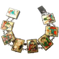 Exotic Chinese Eight Immortals Sterling Link Bracelet ca 1930s