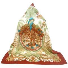Hermes Luxurious Hawaiian Theme Silk Scarf in Hermes Box