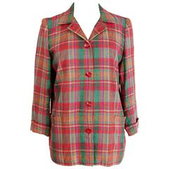 1980s Valentino Plaid Check Cotton Jacket