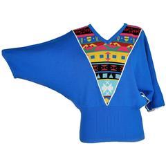 1980s Pierre Cardin Blue Sweater Batwing V-Neck
