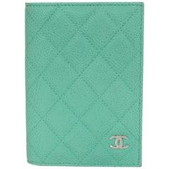 Chanel Seafoam Green Iridescent Caviar Quilted Passport Holder