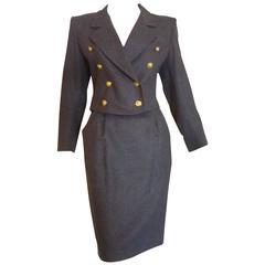 1980s Guy Laroche Grey Wool Skirt Suit (38 Fr)