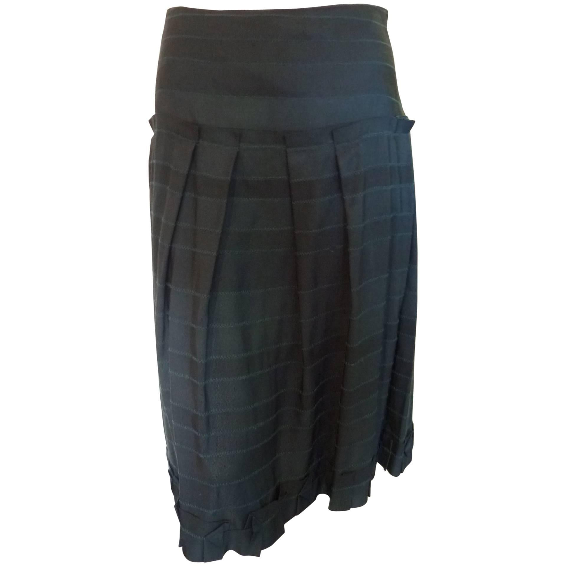 Lela Rose Dark Green Skirt with Origami Details (4)