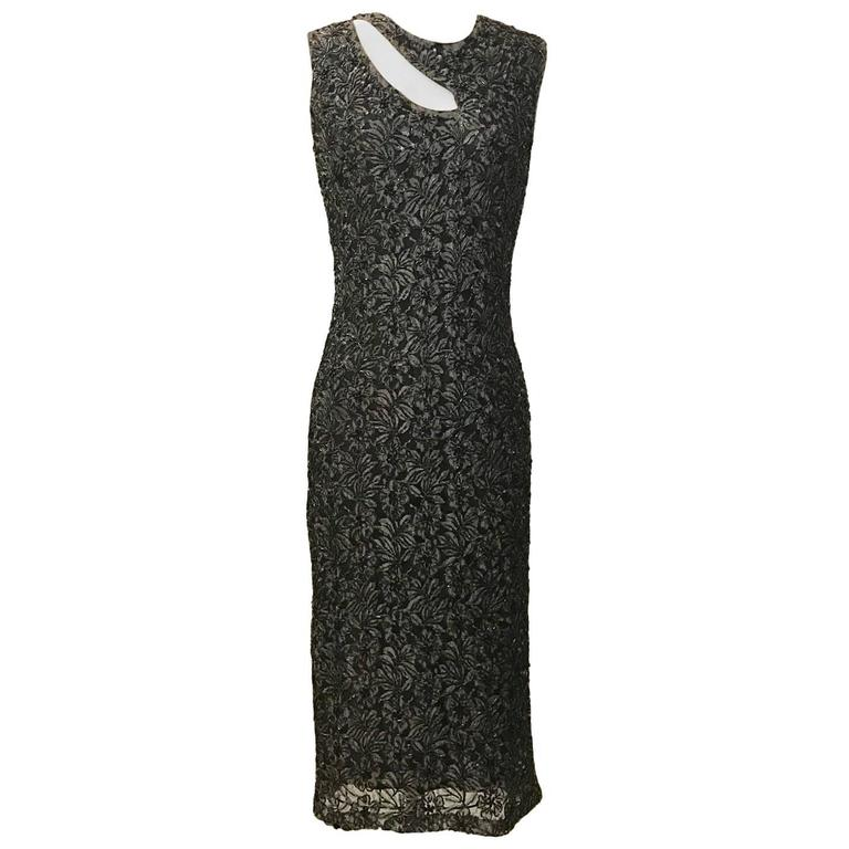 Alexander McQueen Grey and Black Beaded Lace Midi Dress, 1990s