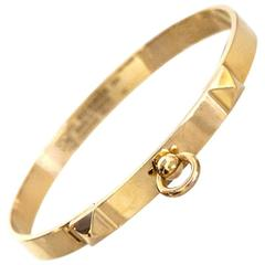 Hermes 18k Yellow Gold Collier de Chien CDC PM Bracelet sz SH