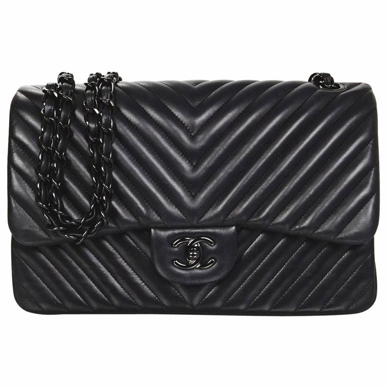 Chanel Rare Collectors Sold Out Chevron SO Black Double Flap Jumbo Classic  Bag For Sale 3621cc6bc