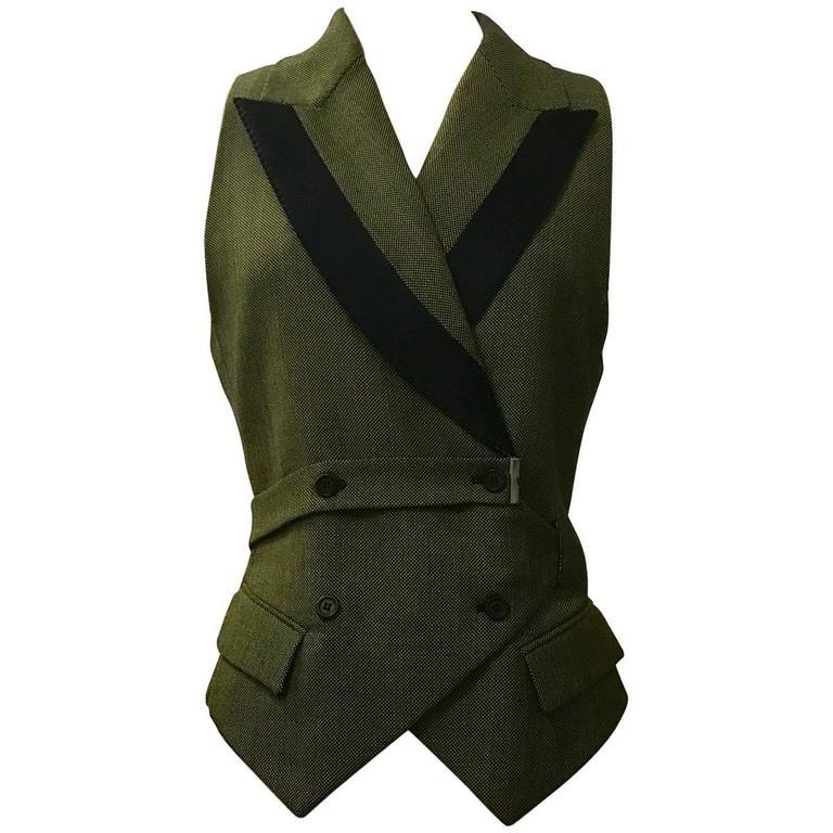 Alexander McQueen 2001 Runway Green and Black Belted Waistcoat Vest 1