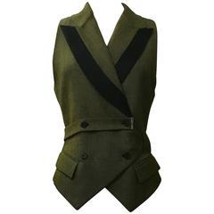 Alexander McQueen 2001 Runway Green and Black Belted Waistcoat Vest