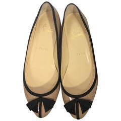 Christian Louboutin Balinodono Nude Patent Leather Flats