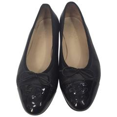 Chanel Black Patent Leather Ballet Flats