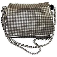 Chanel Hollywood CC Logo Silver Flap Purse Handbag