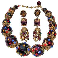 Vintage Massive Crystal  Ball Necklace and  shoulder duster earrings