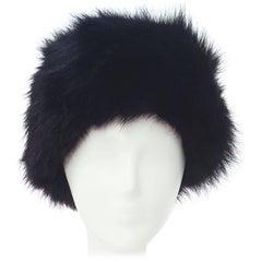 80s Black Fox Fur Hat