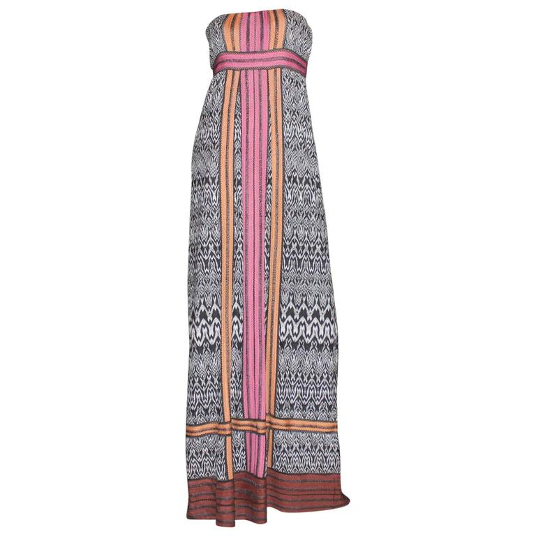 Missoni Corset Monochrome Crochet Knit Evening Gown with Colorblock Trimming