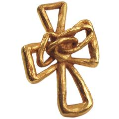 Christian Lacroix Paris Signed Pin Brooch Gilt Metal Pierced Modernist Cross