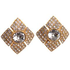 Vintage Christian Dior Paris Signed Clip Earrings Clear Rhinestone Jeweled Paved