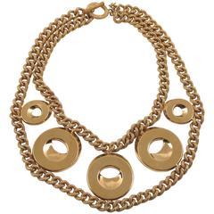 Gilt Metal Geometric Choker Necklace by Julie Borgeaud for Imai