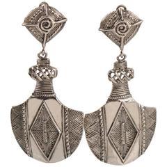 Jean Louis Scherrer Paris Clip on Earrings Dangling African Inspired Carving