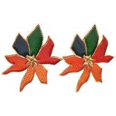 Jean Louis Scherrer Paris clip on Earrings Floral Shape with Multicolor Enamel