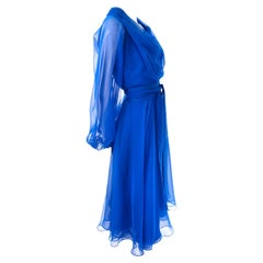 1970s Estevez Blue Chiffon Vintage Dress Sheer Sleeves Size 4/6
