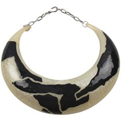 Vintage Italian Artisan Design Lucite Bib Collar Choker Necklace Black Enamel