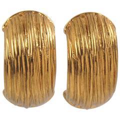 Yves Saint Laurent YSL Paris Signed Clip on Earrings Gilt Metal Half Hoop