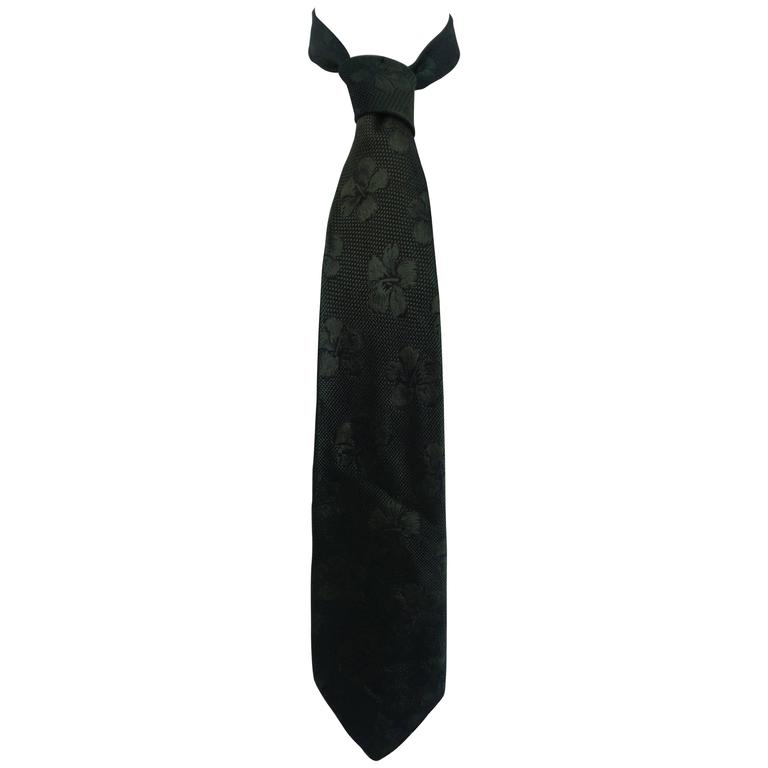 Chanel Green Silk Tie