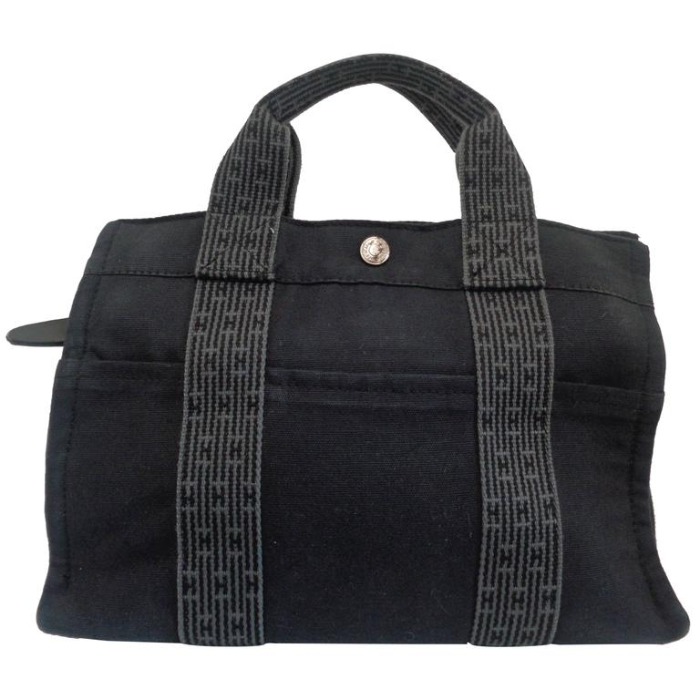 Hermes Paris Black And Grey Canvas Small Tote Bag For