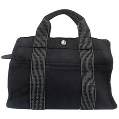 Hermes Paris Black and Grey Canvas small tote bag