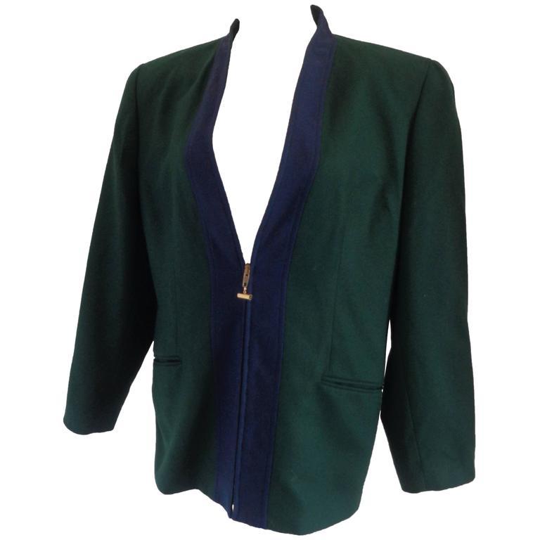 Forma Zero by Gianfranco Ferre Green Blu Wool Sweater
