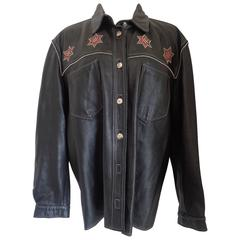 Vintage Vinci Black Red stars leather shirt