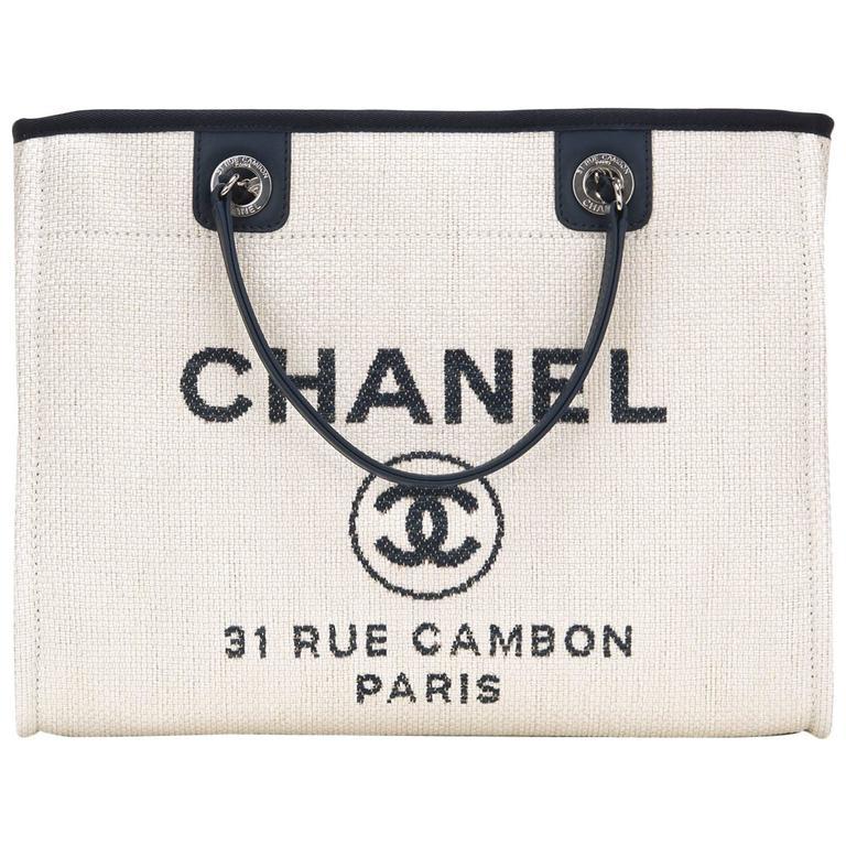 Chanel Small White Deauville Canvas Tote For Sale