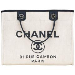 Chanel Small White Deauville Canvas Tote