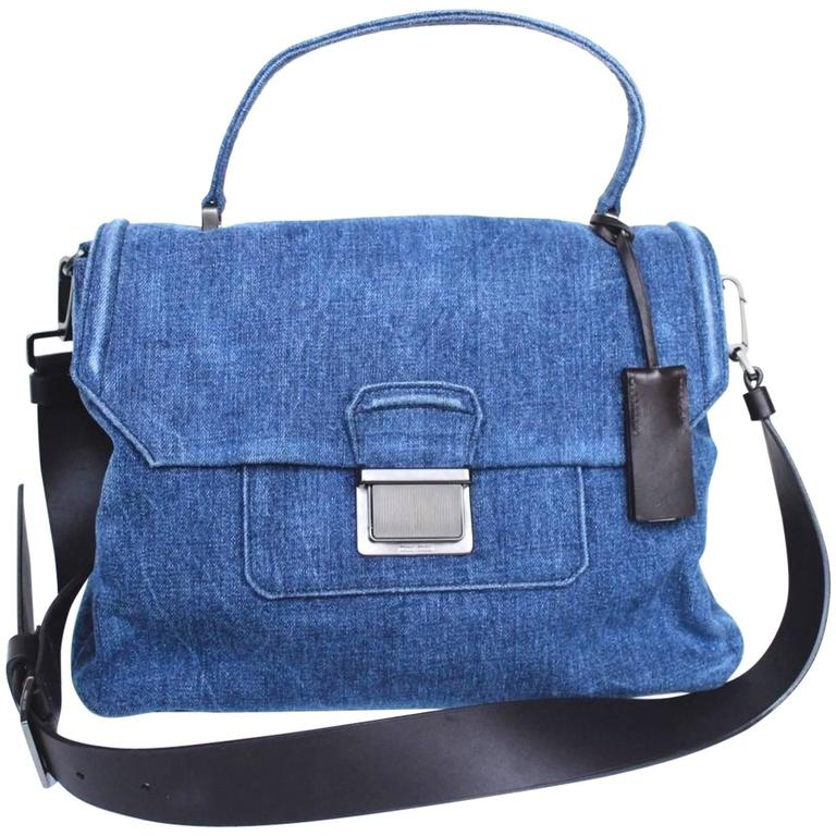 New MIU MIU Borsa Denim Blue Satchel Bag  1