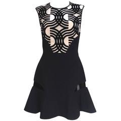 New David Koma Black Flare Skirt Leather Dress UK 12