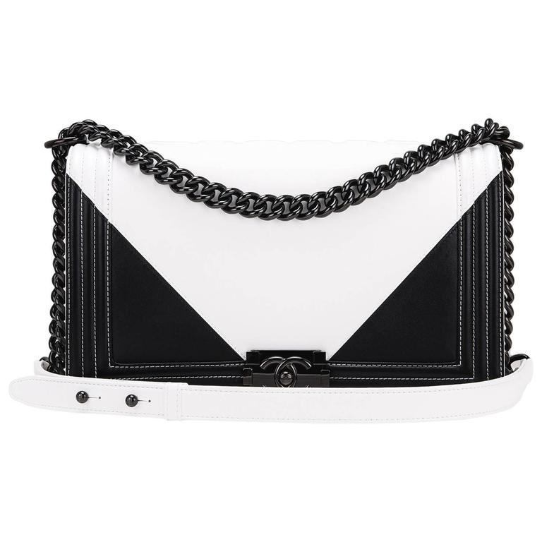 Chanel Black and White Geometric Lambskin New Medium Boy Bag For Sale