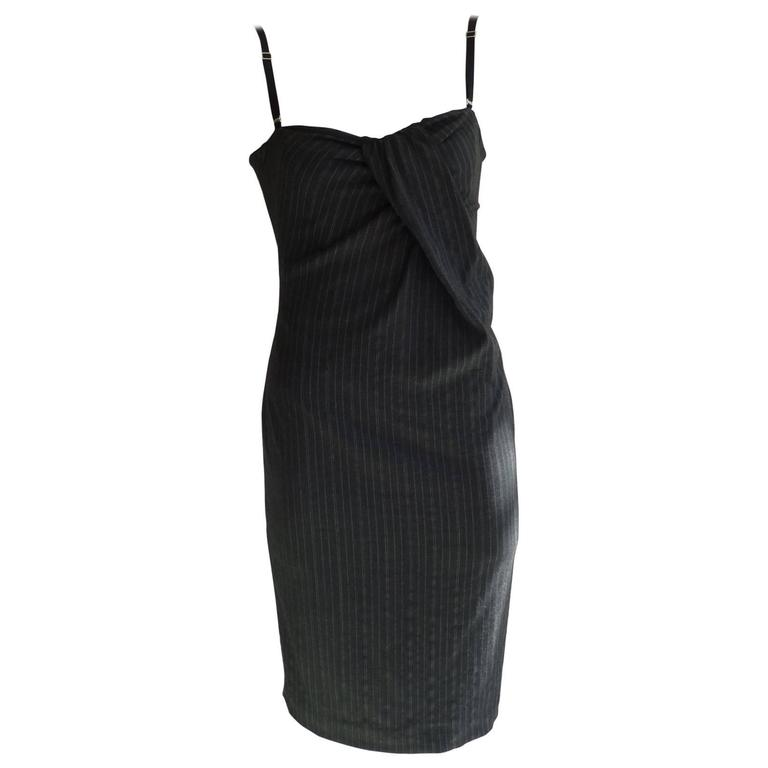 D & G Gray Pinstripe Ruched Corset Pencil Dress