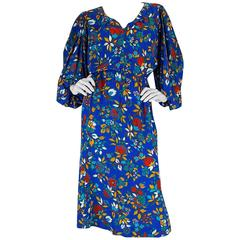 Yves Saint Laurent Bright Floral Print Blue Silk Dress, 1980s