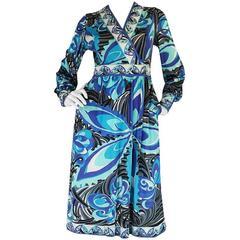 1960s Emilio Pucci Ocean Blue Print Silk Jersey Dress