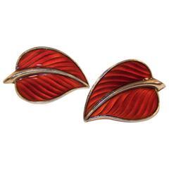 Sweet C.1950 Norway Sterling Vermeil Enamel Leaf Earrings