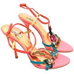Miu Miu Pink Jewelled Heeled Sandals