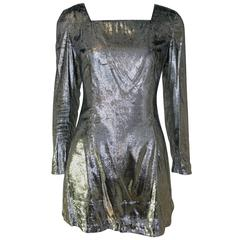 Costume National Silver Lamé Mini Dress
