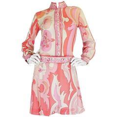 1960s Emilio Pucci Pink Silk Chiffon Print Dress & Belt