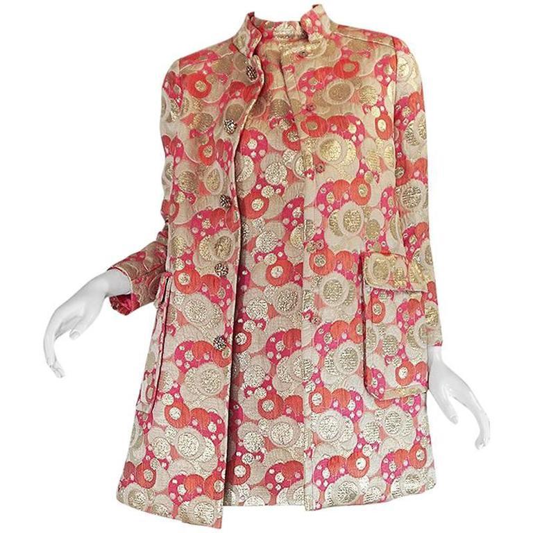 1960s Pink Metallic Pat Sandler Dress & Coat For Sale