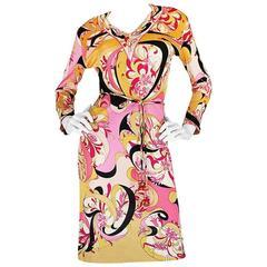 1960s Pucci Pink Silk Jersey Dress w Coppola Crystal Belt