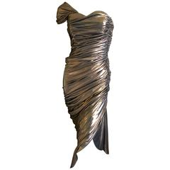 Loris Azzaro Couture 1970's Ruched Copper One Shoulder Cocktail Dress