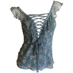 Christian Dior by John Galliano Ruffle Trim Corset Lace Top